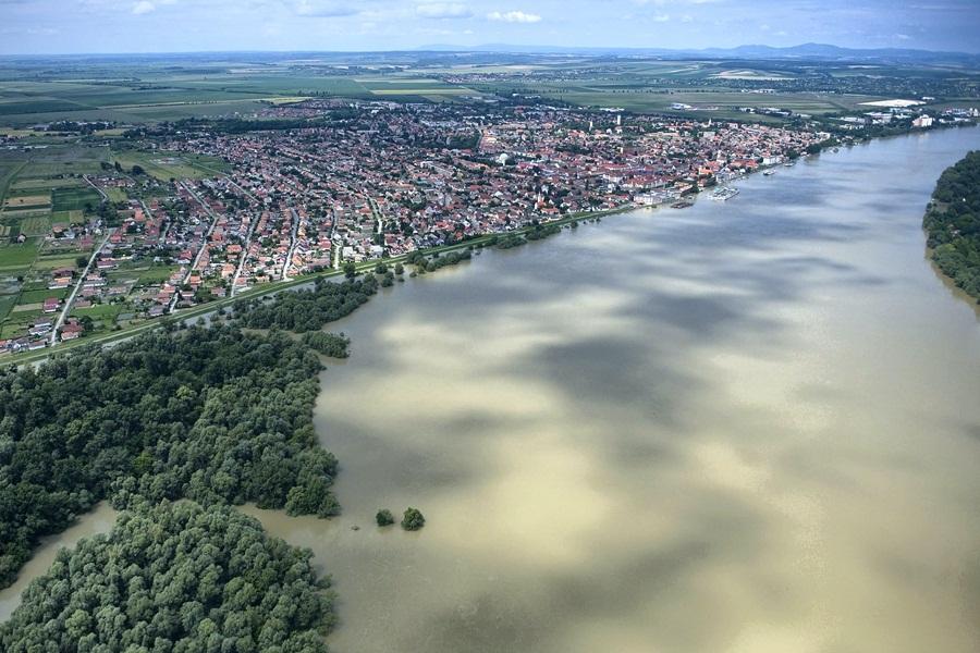 Árvíz - Légifotók Mohácsról