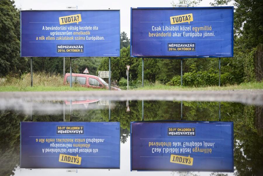 Kvótareferendum - Óriásplakátok Salgótarjánban