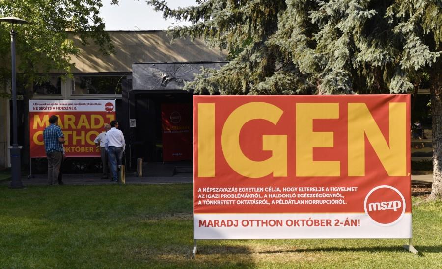 Kvótareferendum - Az MSZP népszavazási kampányplakátja