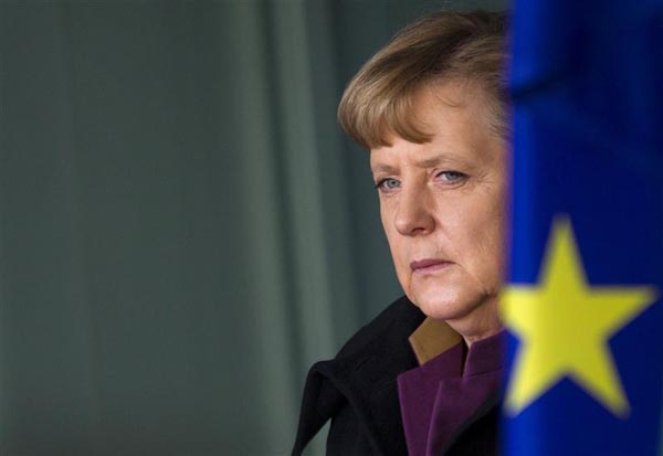 German Chancellor Merkel waits for arrival of Bulgarian Prime Minister Borissov at Chancellery in Berlin
